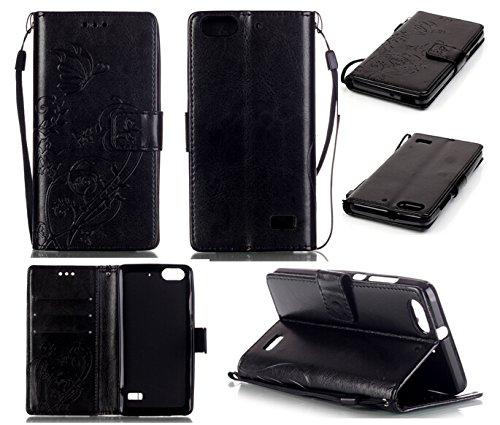 CMID Huawei Honor 4C Hülle mit Handgelenkschlaufe, Buch-Stil Handyhülle PU Leder Flip Case Cover Tasche mit Kartenfach und Ständerfunktion für Huawei Honor 4C (Schwarz)