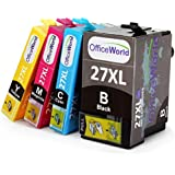 OfficeWorld No.27XL Mulitpack High Capacity Ink Cartridges for Epson WorkForce WF 3640 7610 3620 7620 7110, Pack of 4 (1 Black, 1 Cyan, 1 Magenta, 1 Yellow)