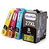 OfficeWorld Ersatz für Epson 27 27XL Druckerpatronen Hohe Kapazität Kompatibel für Epson WorkForce WF-3620DWF WF-7620DTWF WF-7610DWF WF-3640DTWF WF-7110DTW (1 Schwarz, 1 Cyan, 1 Magenta, 1 Gelb)