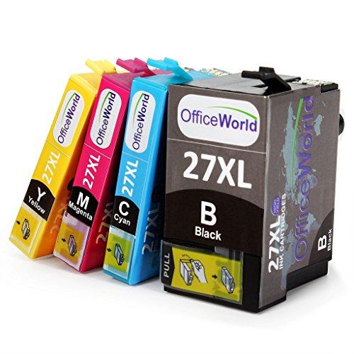Preisvergleich Produktbild OfficeWorld Ersatz für Epson T27XL Tintenpatronen (T2711 T2712 T2713 T2714) Hohe Kapazität für Epson Workforce WF 3620 3640 7110 7610 7620, Packung mit 4