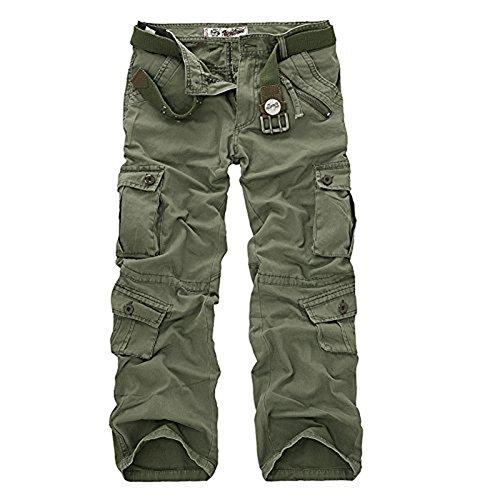 AYG Herren Cargo Hose Freizeit Baumwolle Trousers Casual Sport Army 29-40 Grass Green Nr.22