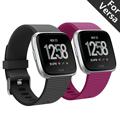 Kutop Fitbit Versa Armband, Fit bit Versa Armbänder weiches Silikon Sporty Ersetzerband Silikagel Fitness verstellbares Uhrenarmband für Fitbit Versa