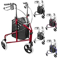Ultra Lightweight 3 Wheeled rollator /Tri Walker with brakes and Shopping Bag - choice of colours
