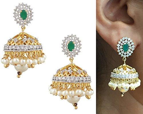 swasti-jewels-cz-zircon-fashion-jewelry-traditional-pearls-jhumka-earrings-for-women-green