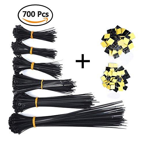 ATPWONZ 600 Stk. Kabelbinder Set verschiedene Größen 80mm / 100mm / 120mm / 150mm / 200mm / 300mm, mit 100 Stk. Klebesockel, schwarz