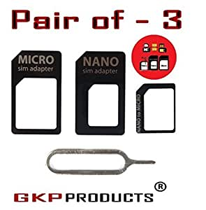 GKP Products ® 4 in 1 SIM CARD Adapter Nano to Micro - Nano to Regular - Micro to Regular With eject pin for iphone 4S 5 5C 5S + iPad 2 3 4 Air/Mini Samsung HTC Sony (Black)