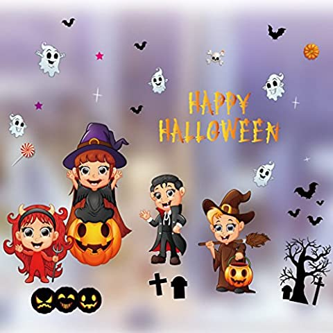 Halloween Ornamente Showcase Elektrostatische Aufkleber Layout Requisiten Supplies Kürbis Aufkleber Hexe Fenster Aufkleber Glas Aufkleber ( Color : 4 (Baby-kürbis-kostüm Uk)