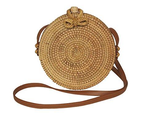 Runde Rattan Tasche, handmade, Korbtasche, Ata bag, Bali bag (Boho Tasche)