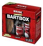 BRISK Bart GESCHENKSET (limited edition) - Set bestehend aus: 1x Bart-Öl 30 ml + 1x Bart-Shampoo 150 ml + 1x stylischer Holzkamm, 180 ml