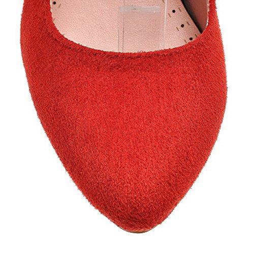 VogueZone009 Donna Fibbia Tacco Alto Tessuto Lucido Colore Assortito Punta Tonda Punta Chiusa Ballerine Rosso