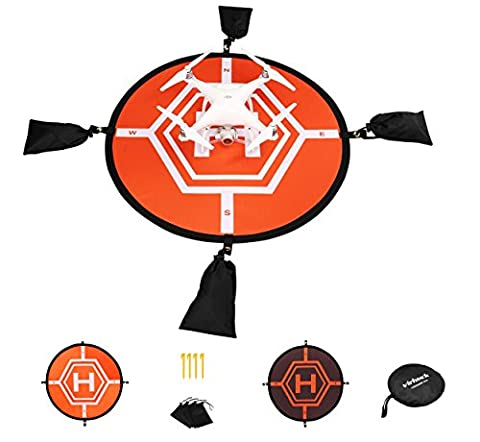 Virhuck 80cm Landing Pad for RC Drone Quadcopter Helicopter, 4 Fixed Points, Collapsible and Waterproof, Protective Shield for DJI Mavic Pro / DJI Spark / DJI Inspire / Phantom 2 3 4 / Syma X5C / Yuneec Typhoon / JJRC H36 DeeRC Predator - Orange and