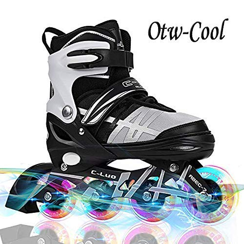 Otw-Cool Adjustable Inline Skates for Kids and Adults Inline Skates with All Wheels Light up Safe and Durable Inline Roller Skates for Girls and Boys Men and Ladies
