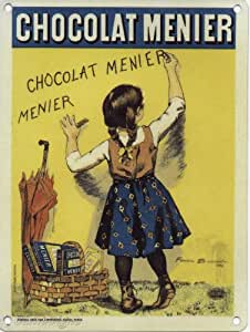 Chocolate Menier Metal Sign Nostalgic Vintage Retro Advertising Enamel Wall Plaque 200mm x 150mm