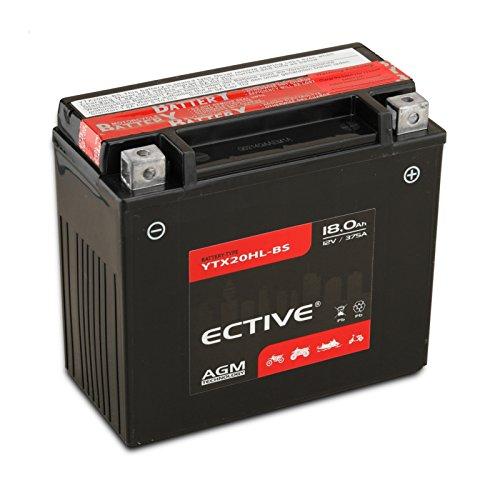 ECTIVE AGM Motorradbatterie | 8-Varianten: 6Ah - 18Ah | 12V Motorradbatterie absolut wartungsfrei | Premium Powersports Motorradbatterie in Erstausrüster-Qualität inkl. Säurepack (YTX20HL-BS 18Ah)