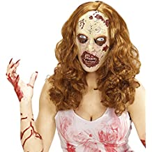 Antifaz látex zombie Máscara muerta viviente con peluca Mascarilla de terror mujer Accesorio disfraz de miedo Careta de miedo The Walking Dead Cubre rostro Halloween
