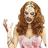 Amakando Antifaz látex Zombie Máscara Muerta Viviente con Peluca Mascarilla de Terror Mujer Accesorio Disfraz de Miedo Careta de Miedo The Walking Dead Cubre Rostro Halloween