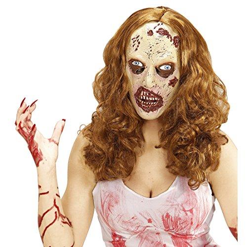 Amakando Latexmaske Zombie Damen Maske mit Perücke Gruselmaske Frau The Walking Dead Horrormaske Zombiemaske Latex Halloweenmaske