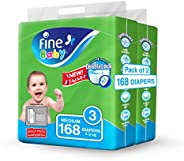 Fine Baby Double Lock, Size 3, Medium, 4-9 kg, Two Mega Packs, 168 Diapers