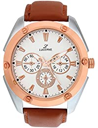 LUCERNE Analogue White Designer Dial Leather Strap Casual Watches For Men A Modern Men Watch Gifts For Friends