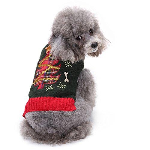 ANIAC Cute Hund Puppy Katze Kitty Weihnachtsbaum Winter Urlaub Kostüm Warm Pullover Haustier Kleidung, S, Rot (Jubel Kostüm)