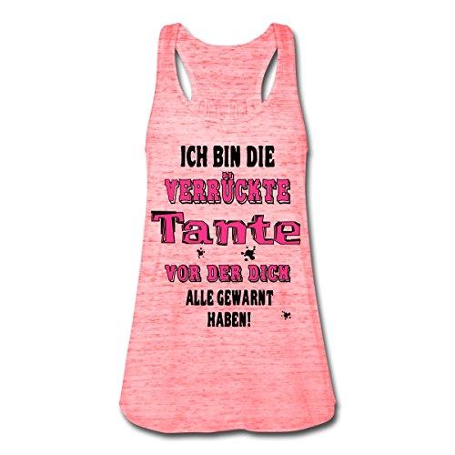 Spreadshirt Bin Die Verrückte Tante Lustige Warnung Frauen Tank Top von Bella, M, Rot Marmoriert (Mädchen Tank Bella Top)
