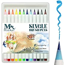 Brush Pens Set - 12 Colours - Soft Flexible Real Brush Tip Marker Pens, Durable, Premium Grade - Create Watercolour Effect - Ideal for Adult Colouring Books, Manga, Comic, Calligraphy - MozArt Supplies