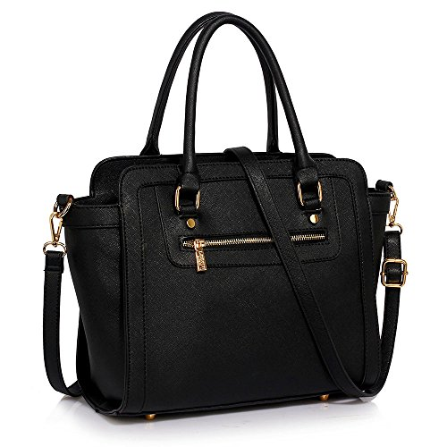 TrendStar Frau Des Faux Leder Handtasche Neu Damen Schulter Taschen Für Leinentrage Entwerfer Stil Berühmtheit Des Faux Leder A - Schwarz