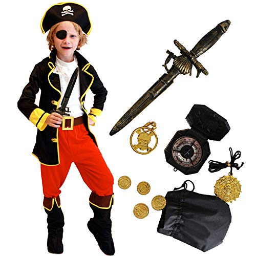 Tacobear Piraten Kostüm Kinder mit Piraten Zubehöre Piraten Augenklappe Dolch Kompass Geldbeutel Ohrring Gold medasie Kinder Piraten Fancy Dress Kostüm Jungen (M (4-6 Jahre)) (Kinder Mit Kostüm)