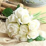 Longra Wohnaccessoires & Deko Kunstblumen Künstliche 5 Stück Künstliche Fake Rosen Flanell Blume Bridal Bouquet Hochzeit Party Home Decor Blume (D3: 1 Strauß 11 Köpfe)