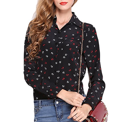 Fanmay Stylische Chiffon Damen Blusen Revers Splice Anker Printing Retro Langarm Casual Lose Longshirt T-Shirt Tops Blusenshirt Oberteil (M, Schwarz)