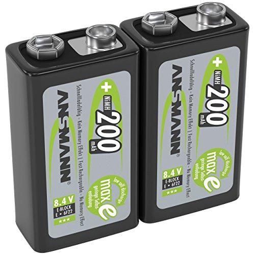 ANSMANN Akku 9V Block 200mAh NiMH 2 Stück mit geringer Selbstentladung - Wiederaufladbare Batterien maxE mit hoher Kapazität - 9 Volt Batterie für Messgerät Multimeter Spielzeug Fernbedienung uvm.