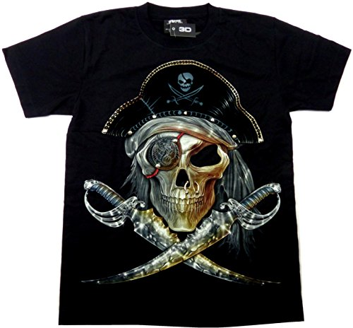 Herren Damen Totenkopf Piraten Säbel Design Party Shirt schwarz Karneval Fasching 3D Hemd Glow in the Dark Halloween Theme Skull Pirat Sword Shirt leuchtet im dunkeln Größe: L 5243 (Glow In The Dark Theme)