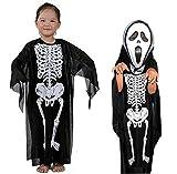 Talla M - 7-8 años - Disfraz - Disfraz - Carnaval - Halloween - Esqueleto - Zombie - Monstruo - Muerte - Huesos - Color Negro - Niño