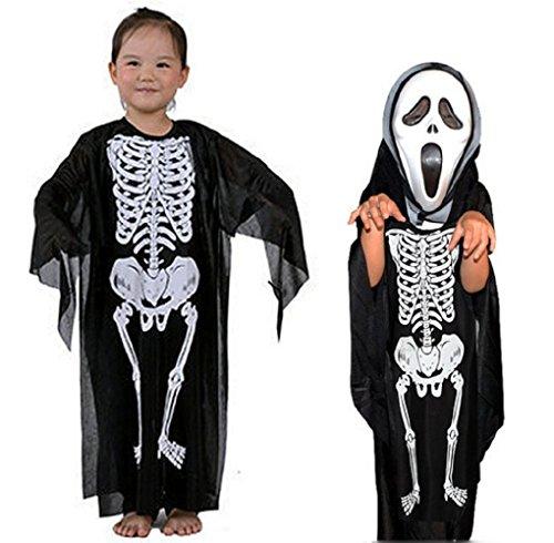 Jahre - Kostüm Verkleidung Karneval und Halloween von Skelett Zombie Monster Tod Knochen Farbe Schwarz männliches Kind (Billig Skelette Für Halloween)