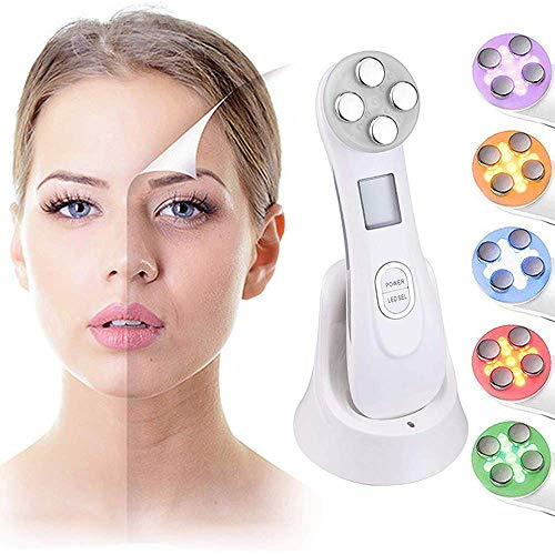 Facial Toning Gerät (5in1 Multifunktionale Ultraschall-LED-LichtPhoton Radio Frequency RF Facial Electroporation Skincare Device for Skin Tightening & Lifting, Anti-Aging)