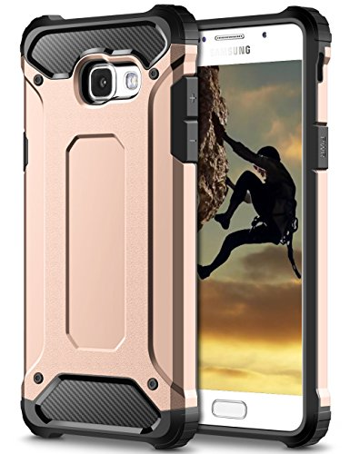 Coolden Samsung Galaxy A5 2017 Hülle, Premium [Armor Serie] Outdoor Stoßfest Schutzhülle Tough Silikon + Hard Bumper 4 Air Cushion Ecken Militärstandard Handyhülle für Samsung Galaxy A5 2017(Rosa)