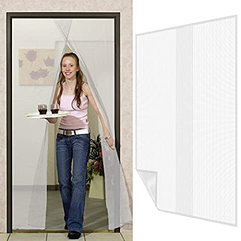 Fliegengitter für Türen 2 Bahnen Fliegennetz aus Polyester mit Klebeband Moskitonetz Türvorhang - weitere Größen und Farben wählbar, Farbe:Weiß, Größe:120 x 220