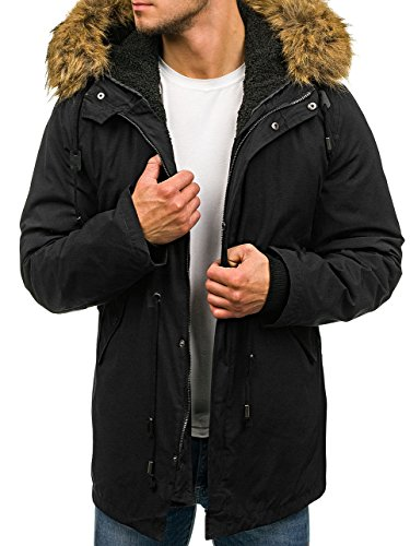 BOLF Hombre Chaqueta de Invierno Parka Capucha con Pelo S-WEST B3550 Negro XL [1A1]