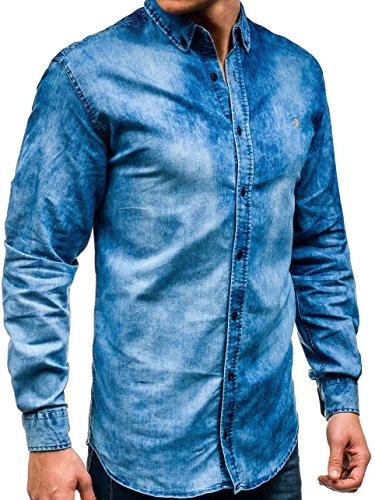 BOLF – Chemise en jean – avec manches longues – Homme – 2B2 Bleu