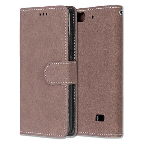 Chreey Huawei Honor 4C/G Play Mini Hülle, Matt Leder Tasche Retro Handyhülle Magnet Flip Case mit Kartenfach Geldbörse Schutzhülle Etui [Braun]