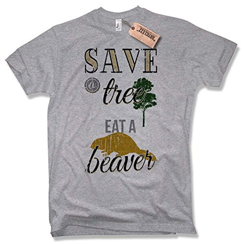 SAVE A TREE- EAT A BEAVER T-Shirt, Vintage, Fun, versch. Farben Gr. S