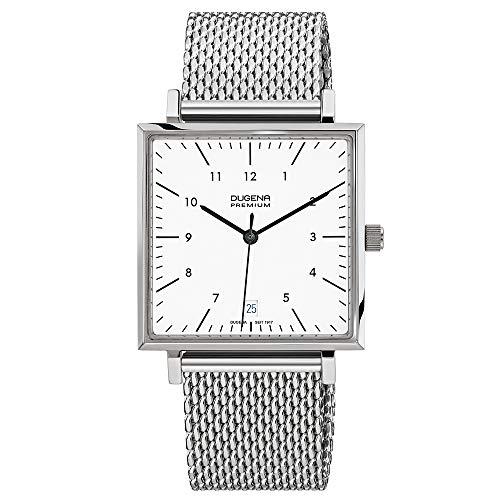 Dugena Unisex Quarz-Armbanduhr, Saphirglas, Milanaise-Armband, Dessau Carrée, Silber, 7090142
