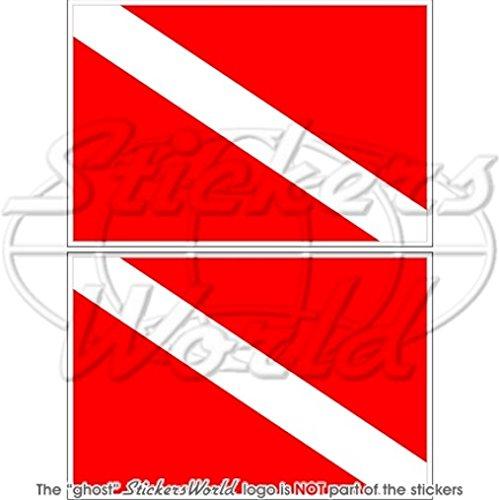 tauchen-flagge-diver-dive-down-76-cm-75-mm-bumper-sticker-aufkleber-vinyl-x2