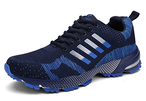 Men's Comfortable Lace Up Athletic Running Shoes Unisex navy
