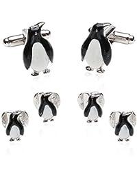Funny diseño de pingüino para hombre formal Juego de Gemelos y tachuelas
