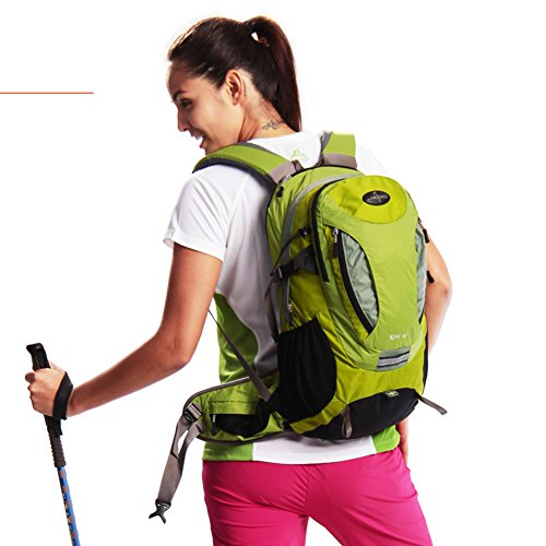 zaino alpinismo/Grande capacità impermeabile Zaino outdoor/ escursioni Pack/Borsa da viaggio-rosa verde