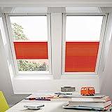 Orignal VELUX Plissee / Faltstore FHL MK08 1273S / Bedienart : Manuell / Farbe : Uni Orange / Fenstergröße : MK08 / Fenstertypen : GGU, GGL, GPU, GPL, GTU, GTL, GXU, GXL _16607