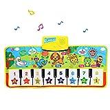 Mengger Piano Matte für Kinder Touch Play Tastatur Musical Mat Berührungsempfindliche Musikmatte Spielteppich Frühe Bildung Decke Tiermuster Baby Spielzeug Geschenk Gym Lernspielzeug Teppich