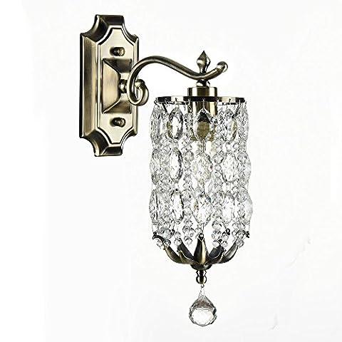 Antike vintage Wandleuchte Kristall, Messing Metall Farbe, klares Kristall, klassisch 1-flammig exkl.1xE14 60W