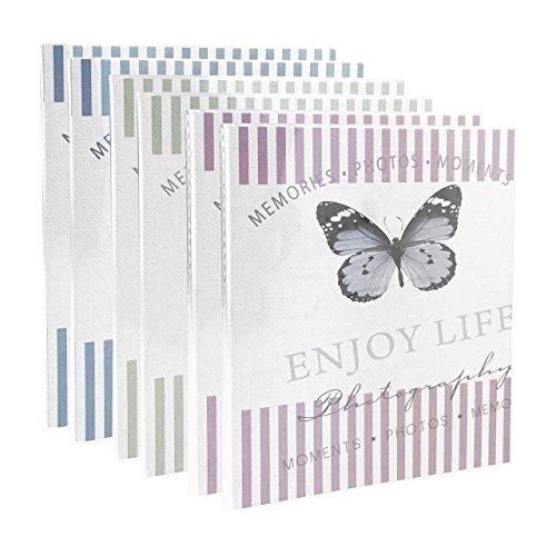 Quantio 6er Set Walther Einsteckalbum Mariposa - Minialbum für 40 Fotos 10 x 15 cm - Lila, Grün und Blau